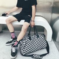 新款时尚旅行包男女大容量手提包短途轻便旅游包运动健身包行李包 黑色