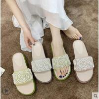 凉拖鞋女外穿仙女百搭珍珠水钻一字拖鞋时尚网红拖鞋