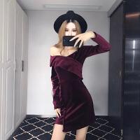 秋冬连衣裙女新款时尚性感交叉大V领修身不规则短裙打底裙潮