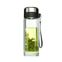 富光玻璃杯G103-280ml/320ml双层隔热水杯带盖便携办公杯 男女提绳泡茶加厚杯底