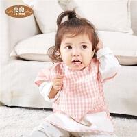 宝宝吃饭围兜短袖食饭衣婴儿棉麻饭兜围嘴口水巾