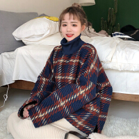 秋冬韩版宽松加厚粗针毛线料高领格子长袖套头卫衣学生上衣外套女