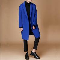 新款休闲宽松羊绒大衣男中长款青年韩版宝蓝色落肩毛呢大衣冬