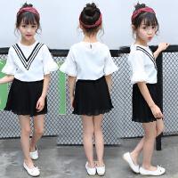 女童夏装套装2018新款中大童雪纺衫儿童短裙13岁女孩童装韩版潮衣