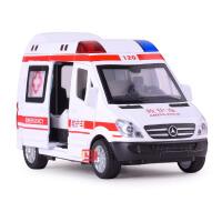 特警车合金车仿真救护车模型声光回力儿童益智玩具车 救护车120
