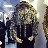 现货ulzzang春秋装新款hanan休闲碎花雪纺衫女围巾领系带长袖上衣