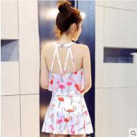泳衣女保守学生韩国小清新连体裙式平角小胸聚拢遮肚显瘦温泉泳装