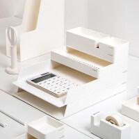 桌面办公文件收纳盒文件柜简易书架置物架双层文件框文件架文件夹收纳盒多层桌面文具收纳整理套装6件套