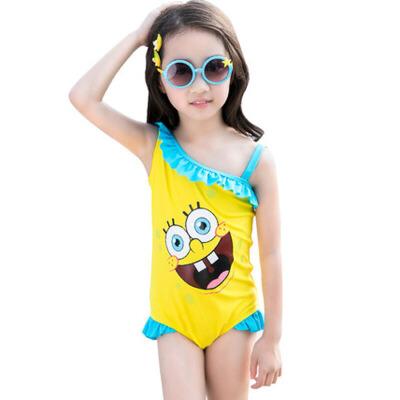 儿童泳衣可爱女童连体泳装小孩宝宝泳衣 蓝 色