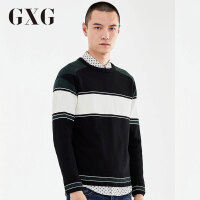 【GXG过年不打烊】GXG毛衫男装 冬季男士修身时尚潮流休闲都市黑白色套头毛衫