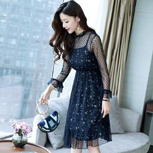 RANJU然聚2018女装春季新品新款连衣裙中长款宽松裙子蕾丝长袖两件套碎花裙