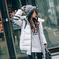 2017秋冬季新款轻薄款羽绒服女中长款连帽修身显瘦韩版大码外套 A6081黑色