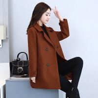 毛呢外套女韩版时尚长袖修身显瘦加厚2017秋冬季新款chic呢子大衣