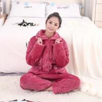 套装睡衣秋冬新款女士法兰绒三层加厚棉袄夹棉睡衣加厚长袖家居服