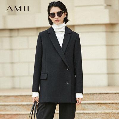 【到手价279元】Amii[极简主义]干练睿智 翻领毛呢外套女 2018冬装新直筒斜搭大衣.