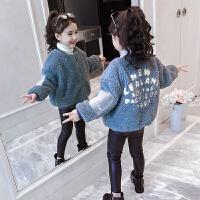 儿童洋气外套厚款夹棉冬季2018新款女孩上衣羊羔绒毛毛衣