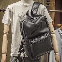 休闲双肩包男士背包电脑包学院风韩版学生书包女PU皮运动旅行潮包