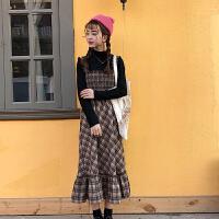 春季女装韩版气质小清新收腰显瘦格子中长款背带裙无袖连衣裙长裙 咖色格裙 均码
