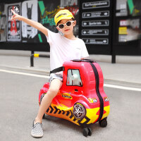 儿童行李箱可坐骑行万向轮小孩拉杆箱宝宝箱卡通拖箱旅行箱 小汽车骑行箱(加购送箱套和贴纸) 24寸( 终身保修)