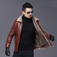 精品男装冬季中年男士毛领皮衣加绒加厚爸爸装外套中老年pu皮夹克