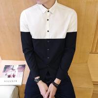 秋冬新款男装时尚衬衫青年韩版修身拼色衬衣