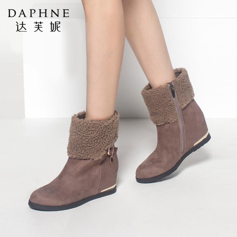 达芙妮秋冬季女靴时尚舒适内增高毛绒翻领靴口扣带棉靴短靴女平底