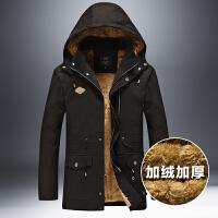 冬季加绒加厚中年外套男士棉衣服大码男装中长保暖纯棉夹克男军衣 X