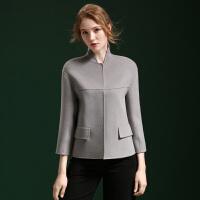 秋冬新款羊毛呢大衣女短款立领修身大码纯手工双面无羊绒外套女装