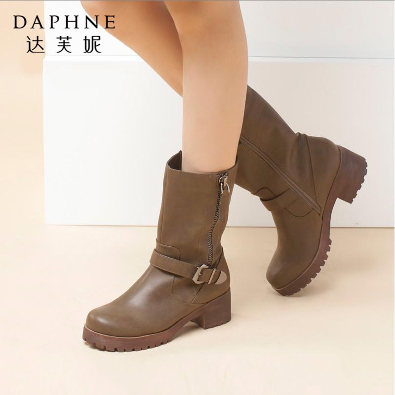 Daphne/达芙妮专柜女靴冬款 时尚方跟皮带扣粗跟侧拉链女中筒靴年末清仓,售罄不补货!