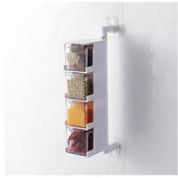 厨房免打孔可壁挂不锈钢带盖多层可旋转调味罐套装调味收纳罐