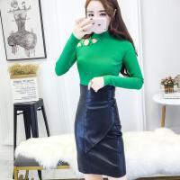 冬天套装女 两件套2017新款时尚性感加厚针织毛衣+高腰pu包臀短裙