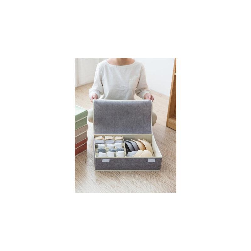 家用可折叠内衣收纳盒布艺宿舍内裤整理箱文胸盒袜子分隔收纳神器 大容量 棉麻材质