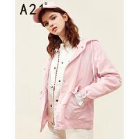 A21以纯线上品牌2017秋装新品连帽风衣女 休闲舒适宽松纯色女装外套