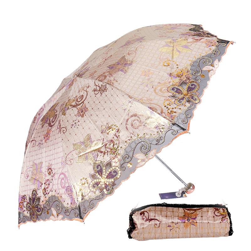 天堂伞33043E金铃仙子防紫外线窗台花三折绣花伞