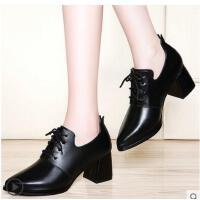 古奇天伦新款韩版百搭尖头单鞋粗跟黑色高跟鞋小皮鞋英伦风女鞋子春季GTY3344