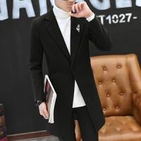 男士毛呢大衣秋冬新款韩版修身中长款青年风衣外套潮流呢大衣