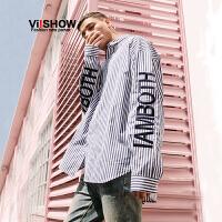 VIISHOW2018新款衬衫 春季男士潮牌印花休闲长袖衬衫青年宽松方领