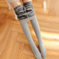 穿裙子的打底裤袜女保暖加绒加厚毛裤秋季冬天烟灰色外穿棉不掉档 均码加绒