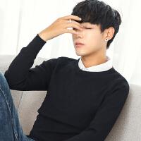 秋冬季假两件衬衫领男士毛衣韩版保暖打底针织衫男潮流个性毛线衣 黑色 M