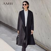Amii[极简主义]时尚长翻领毛呢外套女2017冬装新宽松A字摆大衣