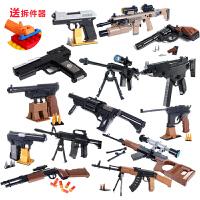 奥斯尼塑料小颗粒拼插拼接拼装益智积木玩具6-12岁男孩模型手枪
