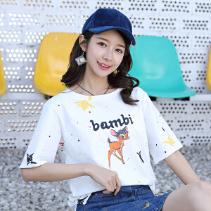 AGECENTRE 2018夏季新款韩版宽松短袖女学生圆领图案印花短袖T恤