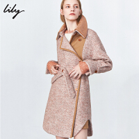 Lily2019冬新款女装人字纹洋气棕色不对称可拆领羊毛毛呢外套1E23