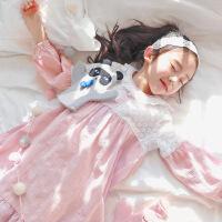 儿童睡衣女童睡裙纯棉春秋季长袖公主中大童女孩花边家居服连衣裙