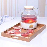 欧式田园水果茶玻璃下午茶茶具陶瓷蜡烛加热底座煮花茶壶茶杯套装 1000ML壶+底座+四锤纹杯子+ 送十个蜡烛