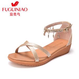 富贵鸟女鞋2017夏季新品时尚露趾坡跟凉鞋树叶一字扣女凉