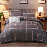 磨毛四件套纯棉全棉加厚秋冬季格子被套双人床单1.8m床上用品