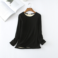韩观冬季加厚加绒打底衫女装T恤大码圆领修身保暖衣长袖外穿绒衫