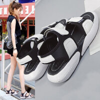 新款百搭女士红运动鞋子 韩版学生平底鞋子女 外穿沙滩鞋魔术贴凉鞋女