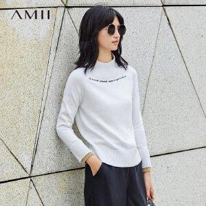 【品牌团 1件7折/2件5折】Amii[极简主义]英文绣花毛衣女2017秋装新款撞色高领插肩袖上衣